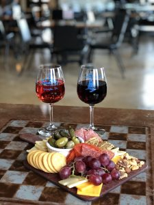 Charcuterie Board and Two Glasses of Illinois Wine